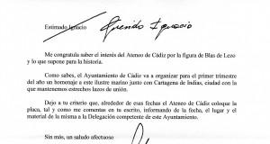 Carta Alcaldesa. Lápida Blas de lezo